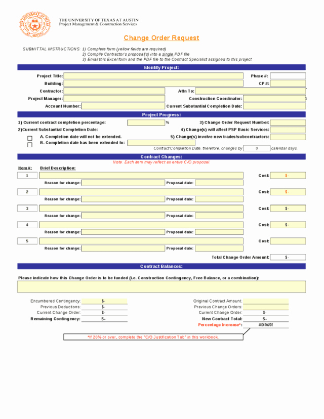 Change order Template Word New Change order Templates Find Word Templates