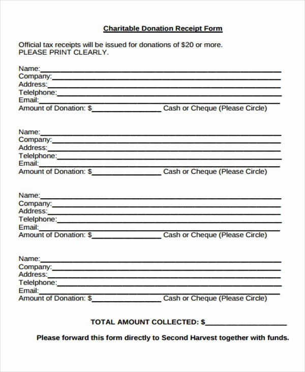 Charitable Donation form Template Awesome Printable Receipt forms