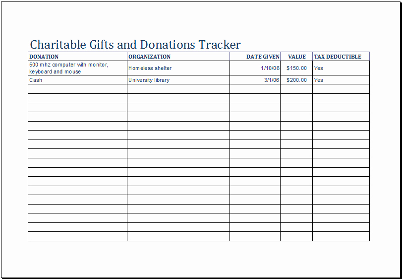 Charitable Donation form Template Beautiful Charitable Gifts and Donations Tracker Template