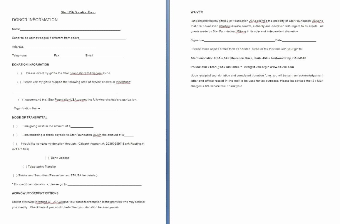 Charitable Donation form Template Beautiful Donation form Template Free formats Excel Word