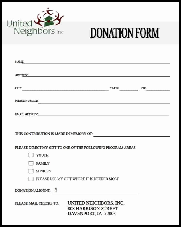 Charitable Donation form Template Inspirational 36 Free Donation form Templates In Word Excel Pdf