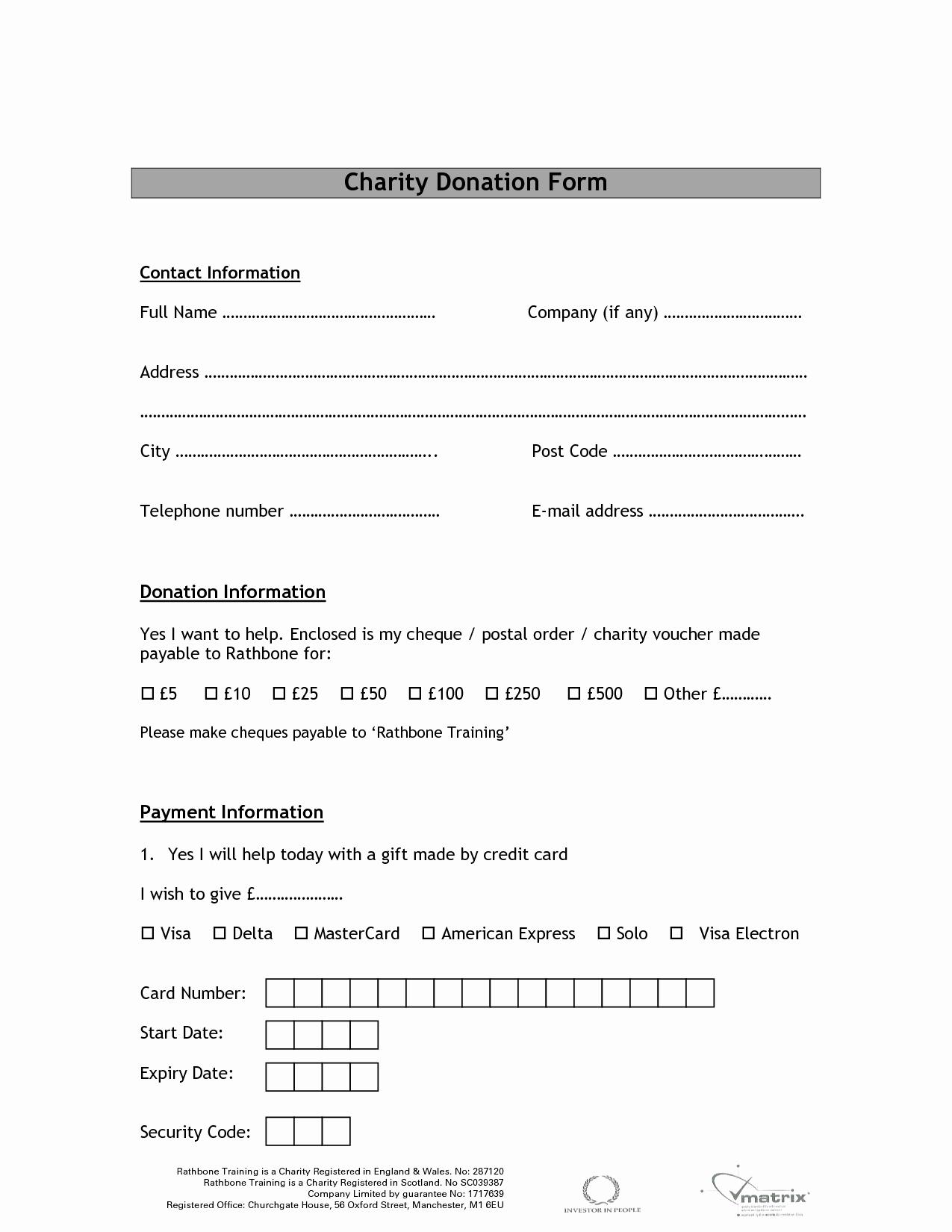Charitable Donation form Template Unique Charity Donation form Template Free Printable Documents