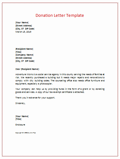 Charitable Donation Letter Template Awesome Donation Letter Templates for Fundraising Free Examples