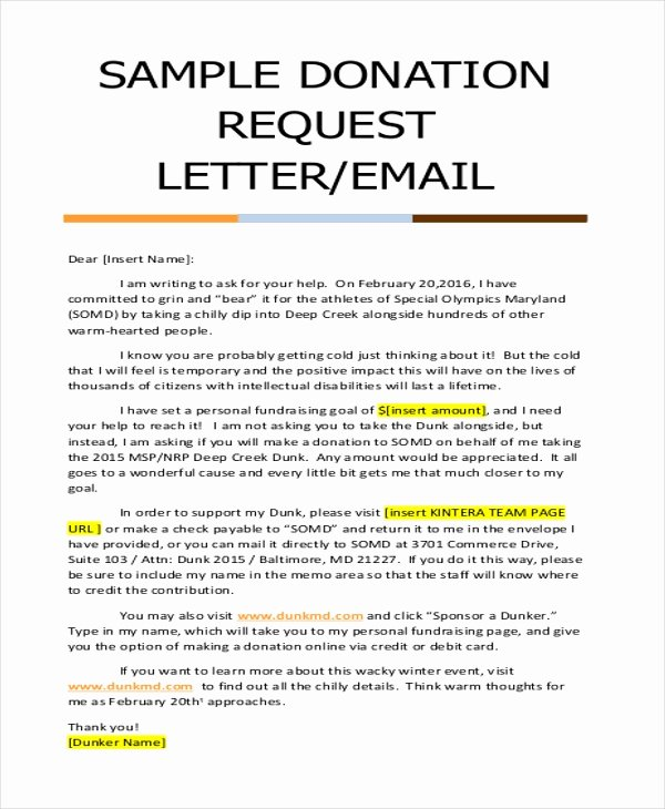 Charitable Donation Letter Template Fresh Free 9 Donation Letter Samples In Pdf