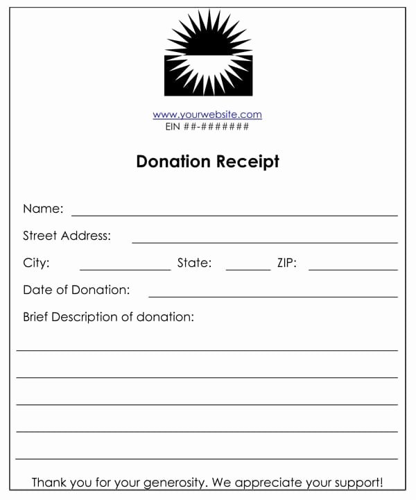 Charitable Donation Receipt Template Lovely Cash or Funds Donation Receipt Template 1577