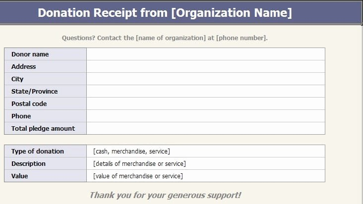 Charitable Donation Receipt Template Luxury 5 Charitable Donation Receipt Templates formats
