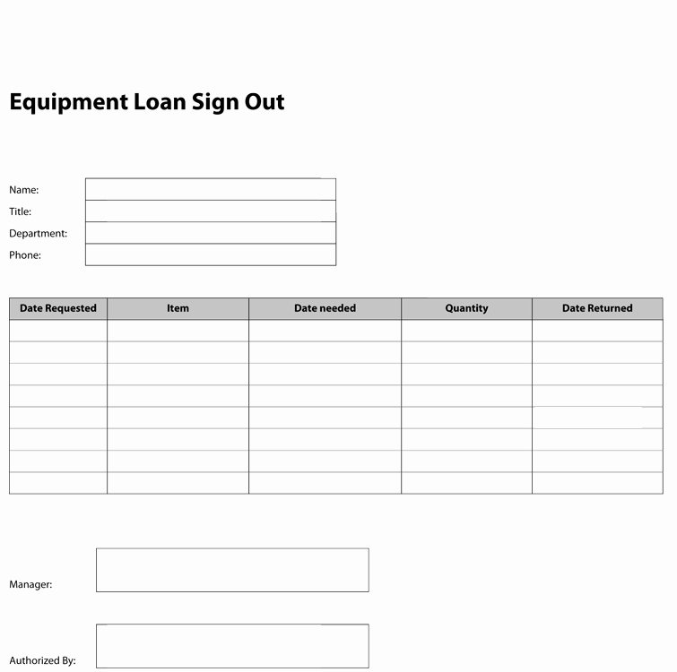 Check Out Sheet Template Awesome 8 Best S Of Key Check Out form Template Equipment