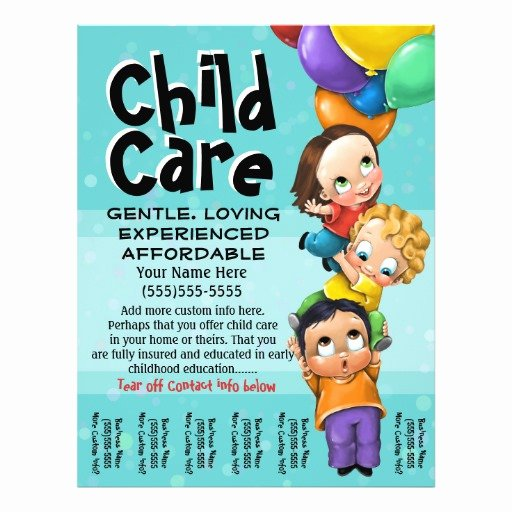 Child Care Flyer Template Awesome Child Care Babysitting Day Care Tear Sheet Flyer Design