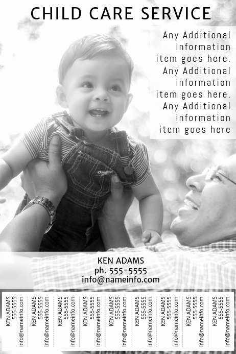 Child Care Flyer Template Beautiful Child Care Service Printable Poster Template with Tear Off