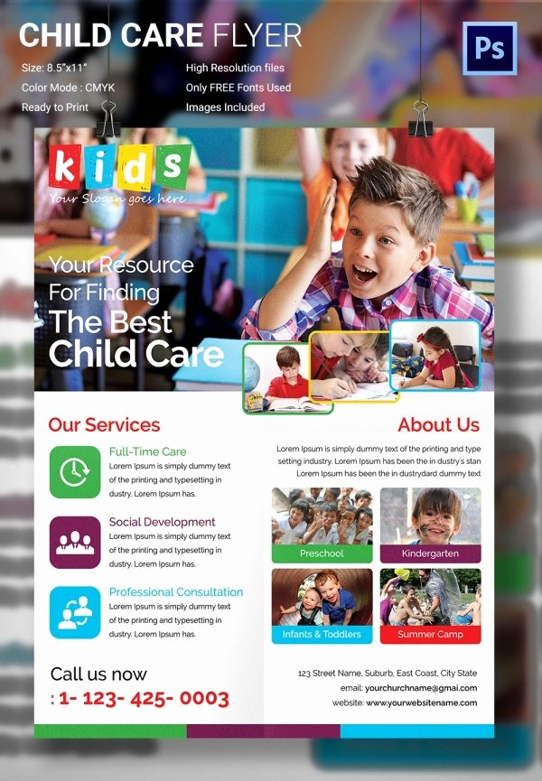 Child Care Flyer Template Beautiful Daycare Flyer Template 27 Free Psd Ai Vector Eps