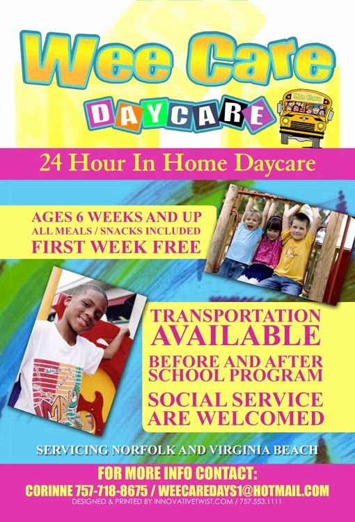 Child Care Flyer Template Beautiful Wee Care Daycare Champagne Daycare