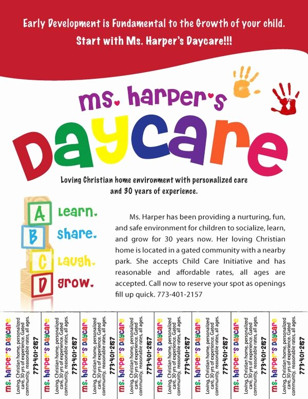 Child Care Flyer Template Elegant Free Daycare Flyers