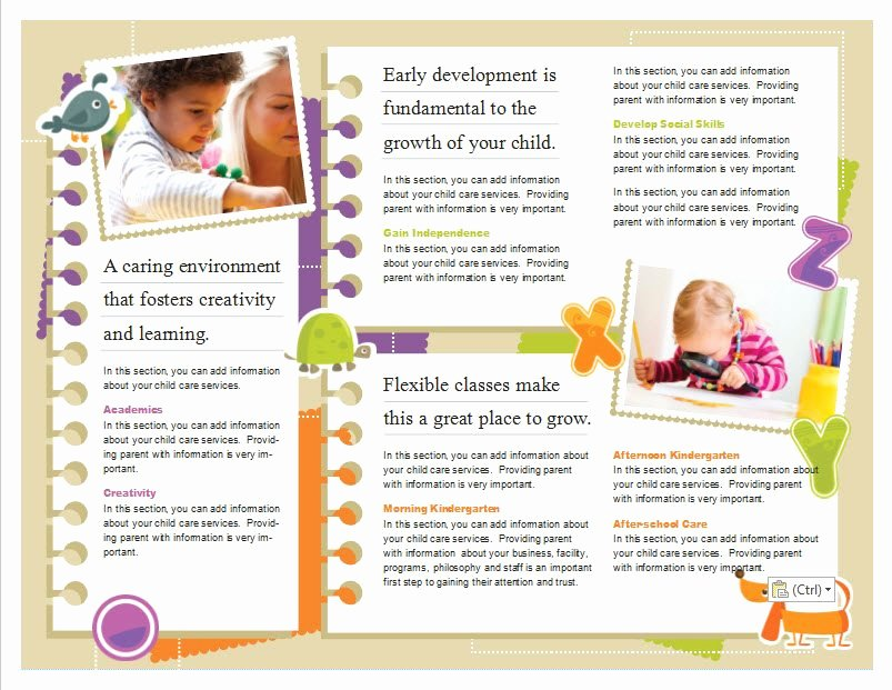 Child Care Flyer Template Lovely Child Care Brochure Template 5 Child Care Owner