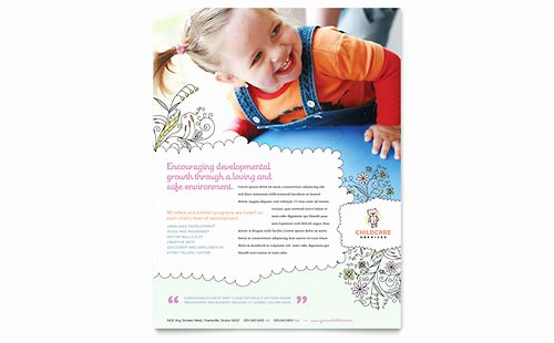 Child Care Flyer Template New Babysitting & Daycare Business Card & Letterhead Template