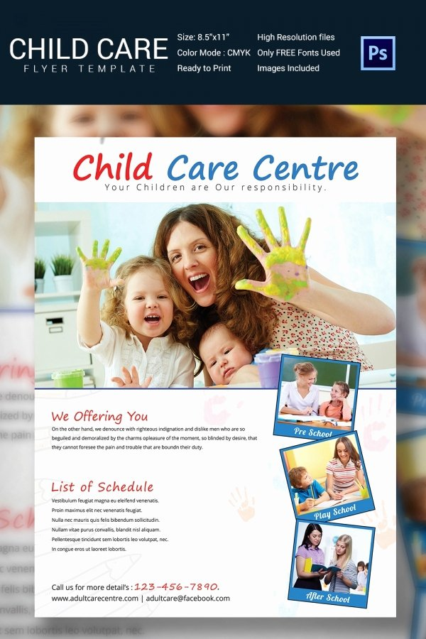 Child Care Flyer Template Unique Daycare Flyer Template 30 Free Psd Ai Vector Eps