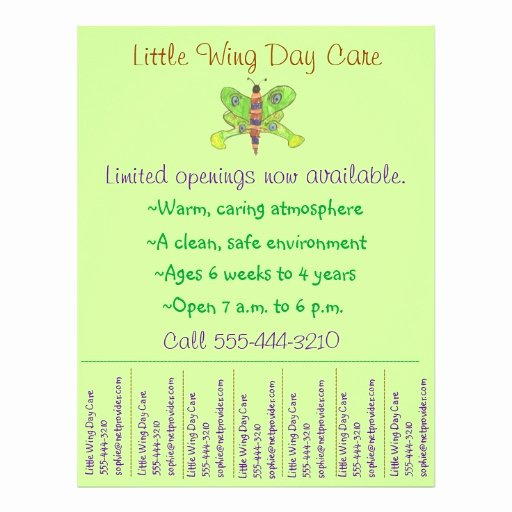 Child Care Flyer Templates Best Of Child Care Flyer Day Care Flyer W Tear Off Info