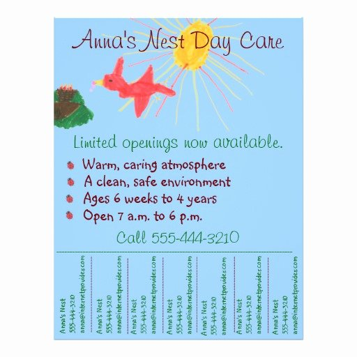 Child Care Flyer Templates Fresh Child Care Flyer Day Care Flyer W Tear Off Info