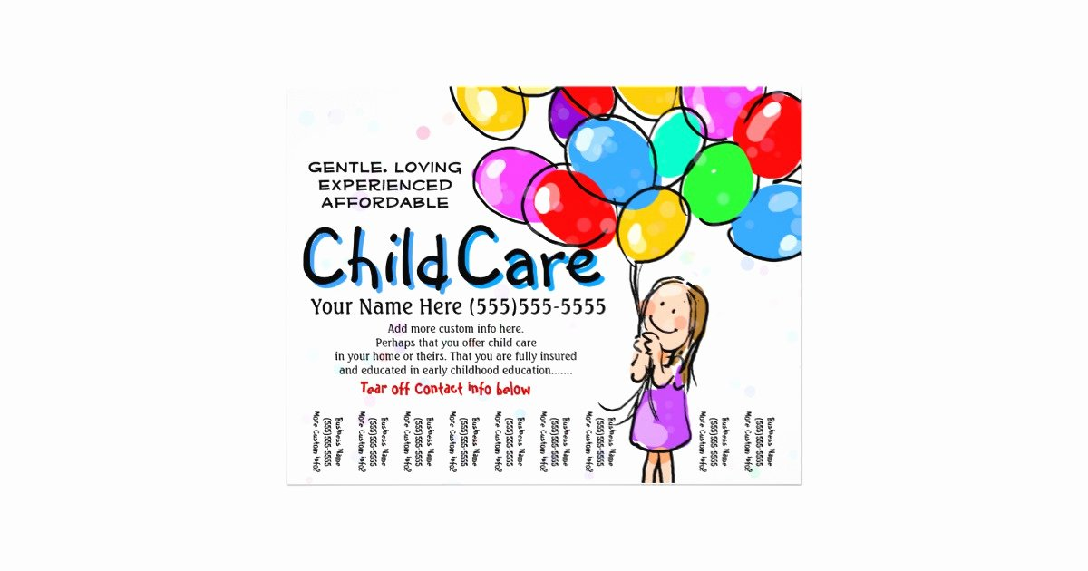 Child Care Flyer Templates Inspirational Child Care Babysitting Day Care Promo Flyer