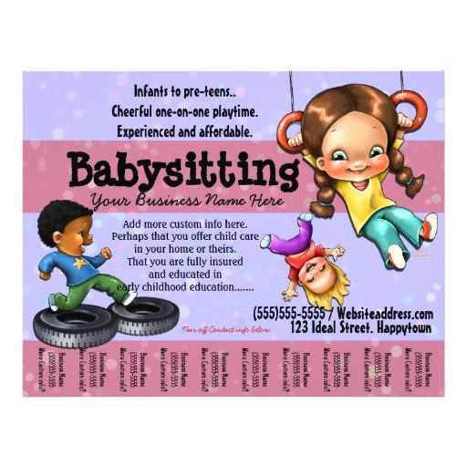 babysitting day care customisable template flyer
