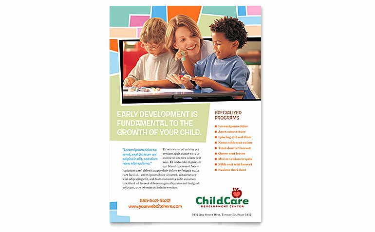 Child Care Flyer Templates Unique Preschool Kids & Day Care Flyer Template Word & Publisher
