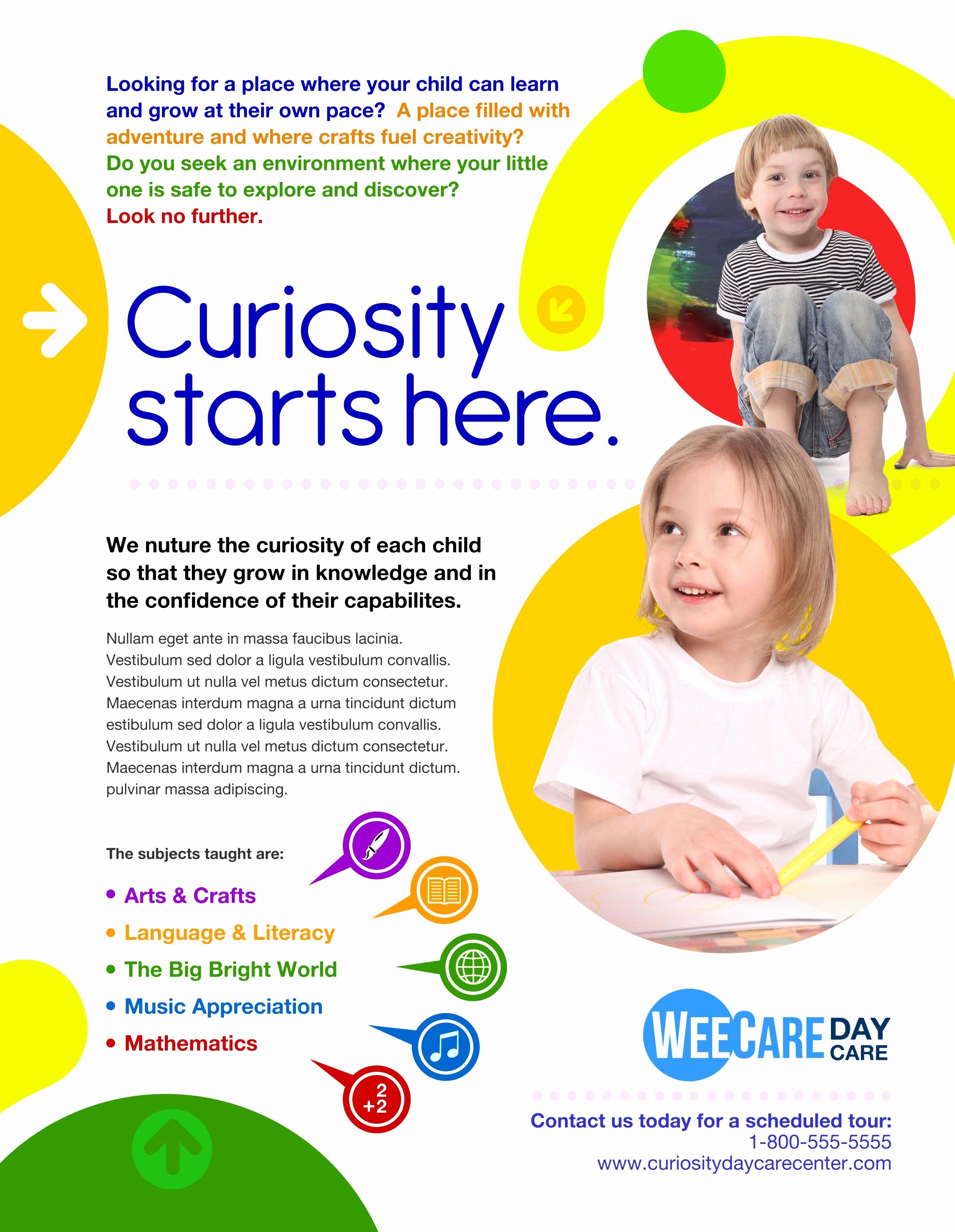 Child Care Flyers Templates Beautiful Marketing [day Care] Marketing Munications