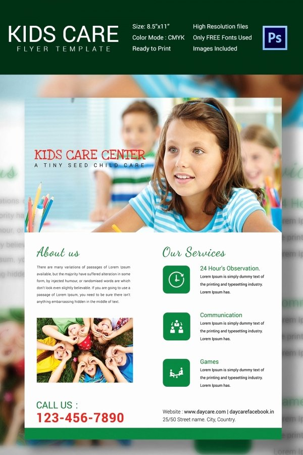 Child Care Flyers Templates Inspirational Daycare Flyer Template 27 Free Psd Ai Vector Eps