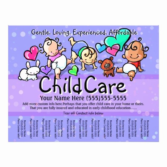 Child Care Flyers Templates Lovely Child Care Babysitting Day Care Custom Text Color Flyer