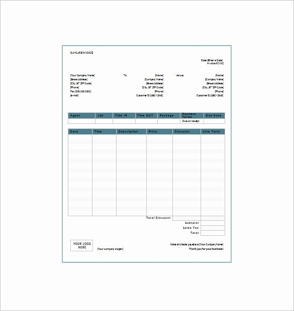 Child Care Invoice Template Awesome 20 Daycare Receipt Templates Doc Pdf