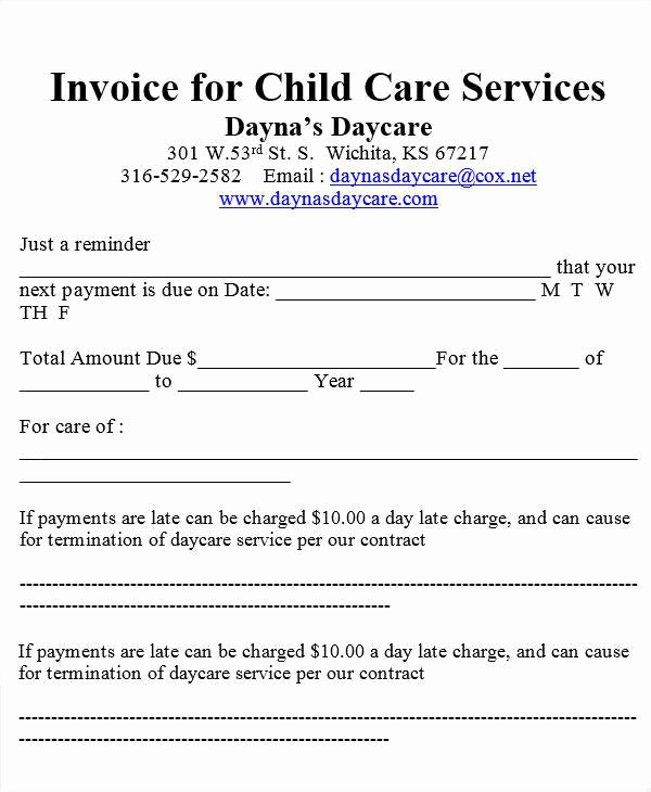 Child Care Invoice Template Best Of 7 Daycare Invoice Templates Examples In Word Pdf