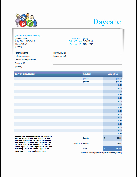 Child Care Invoice Template Best Of Daycare Receipt Excel Template