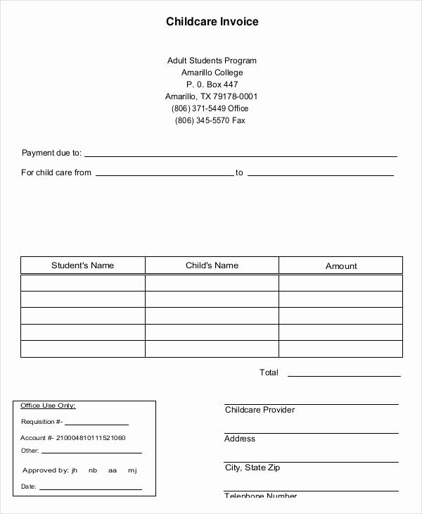 Child Care Invoice Template Fresh Free 7 Daycare Invoice Examples & Samples In Google Docs