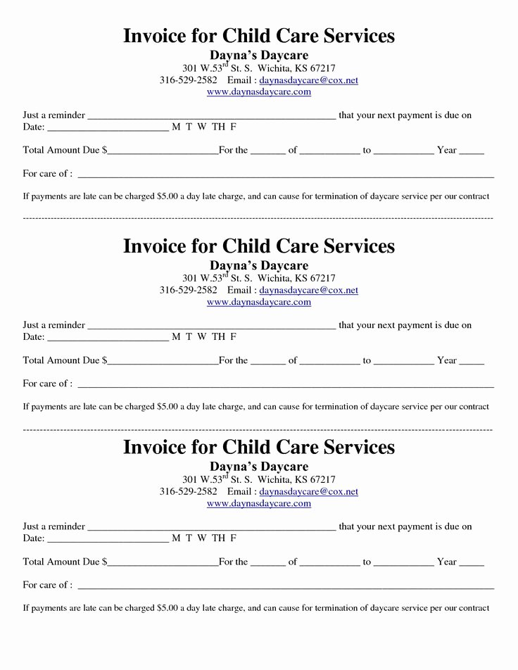Child Care Invoice Template Inspirational Child Care Receipt Invoice