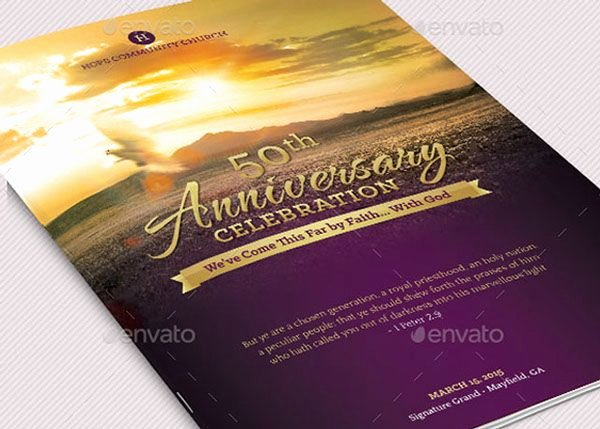 Church Anniversary Program Template Awesome Church Anniversary Service Program Template On