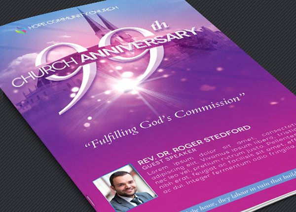 Church Anniversary Program Template New Church Celebration Program Template On Behance