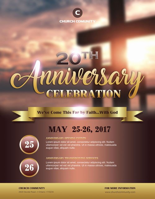 Church Anniversary Program Template Unique Anniversary Celebration Free Church Flyer Template