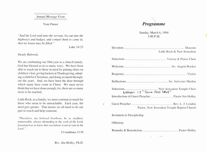 Church Anniversary Program Templates Free Best Of Church Program Template