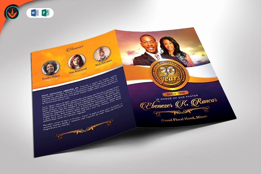 Church Anniversary Program Templates Free Inspirational Church Anniversary souvenir Booklet Template