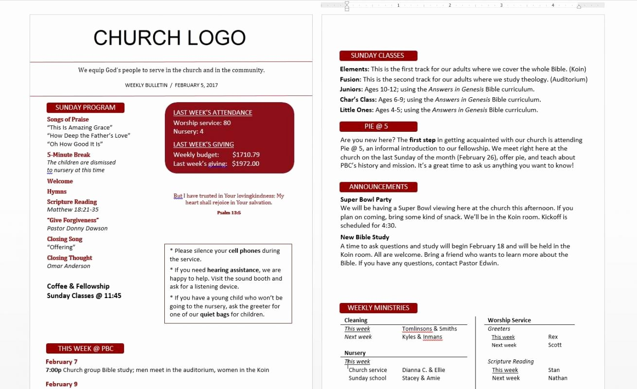 Church Bulletin Templates Free Best Of Church Bulletin Templates