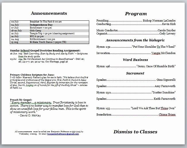 Church Bulletin Templates Free Inspirational Church Program Template