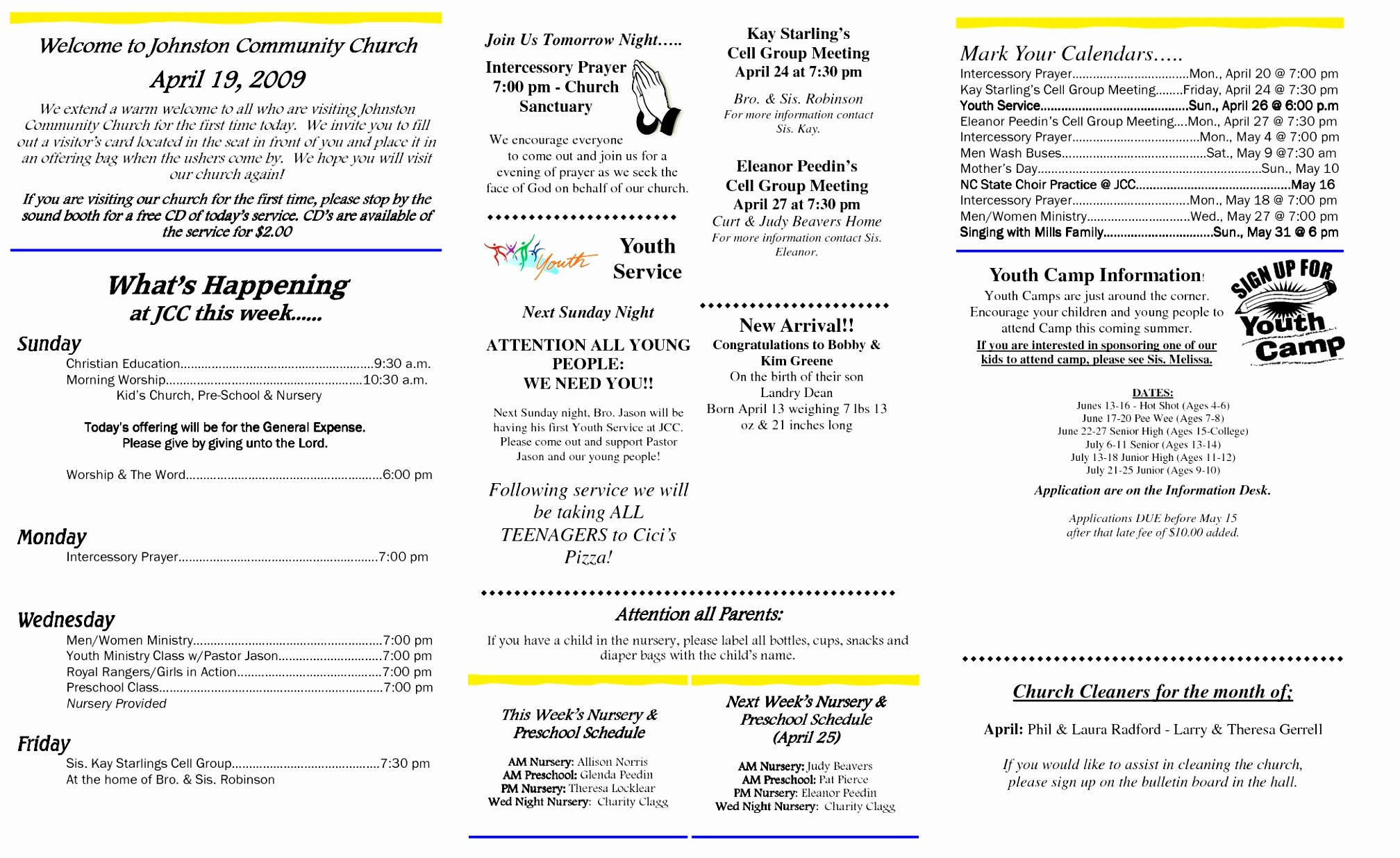 Church Bulletin Templates Free New 12 Church Bulletin Template Microsoft Word Oinwy