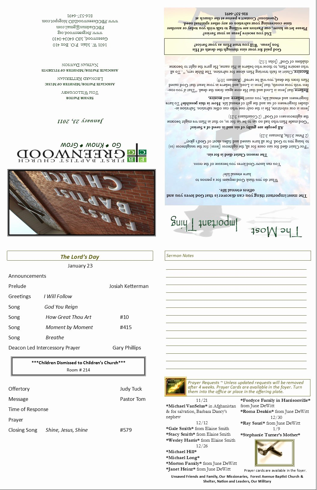 Church Bulletin Templates Free New Church Bulletin Template