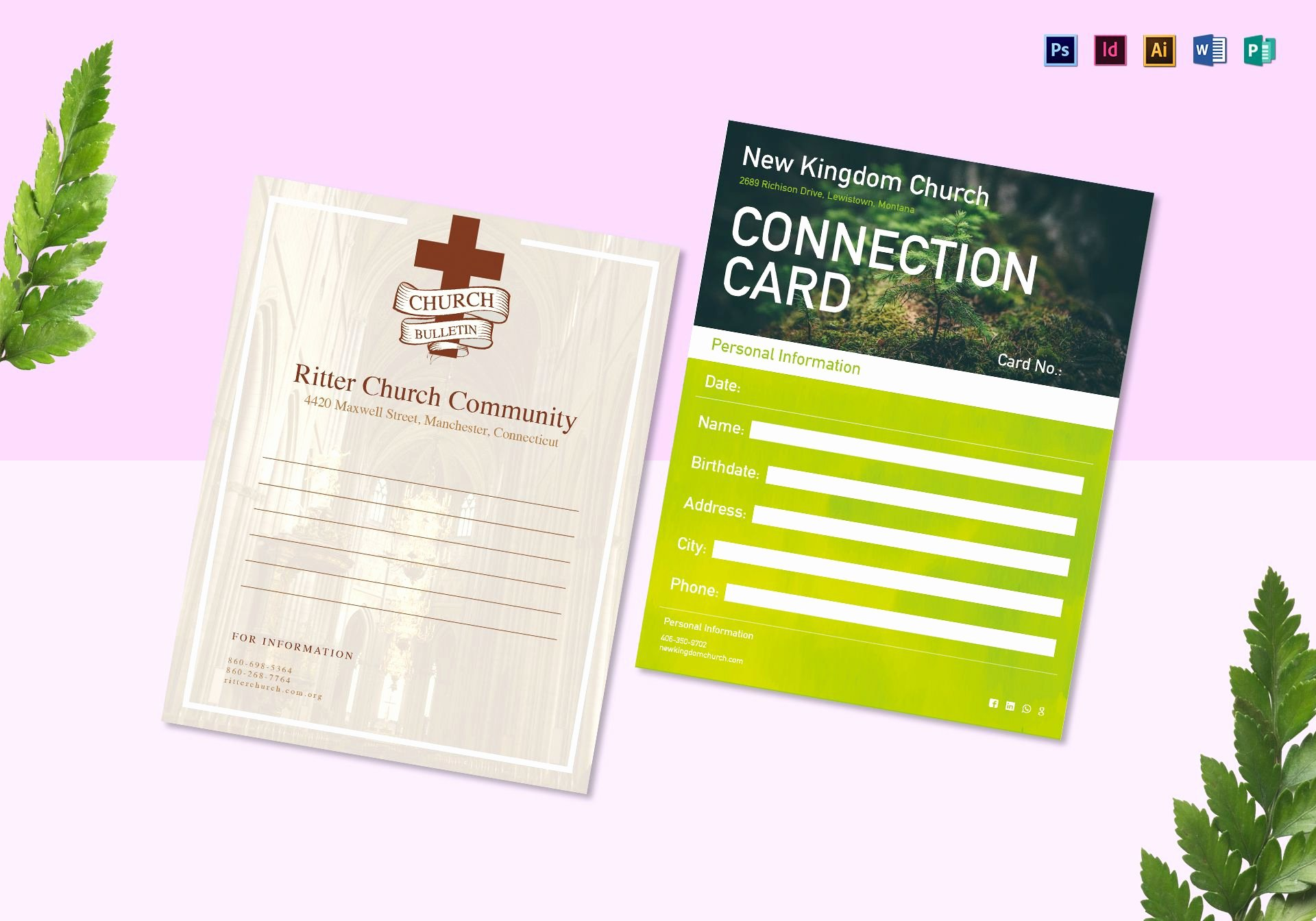 Church Bulletin Templates Word Beautiful Church Bulletin and Connect Card Flyer Design Template In
