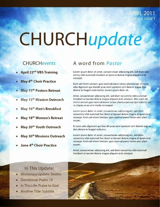 Church Bulletin Templates Word Fresh Pathway Church Newsletter Template Page 1