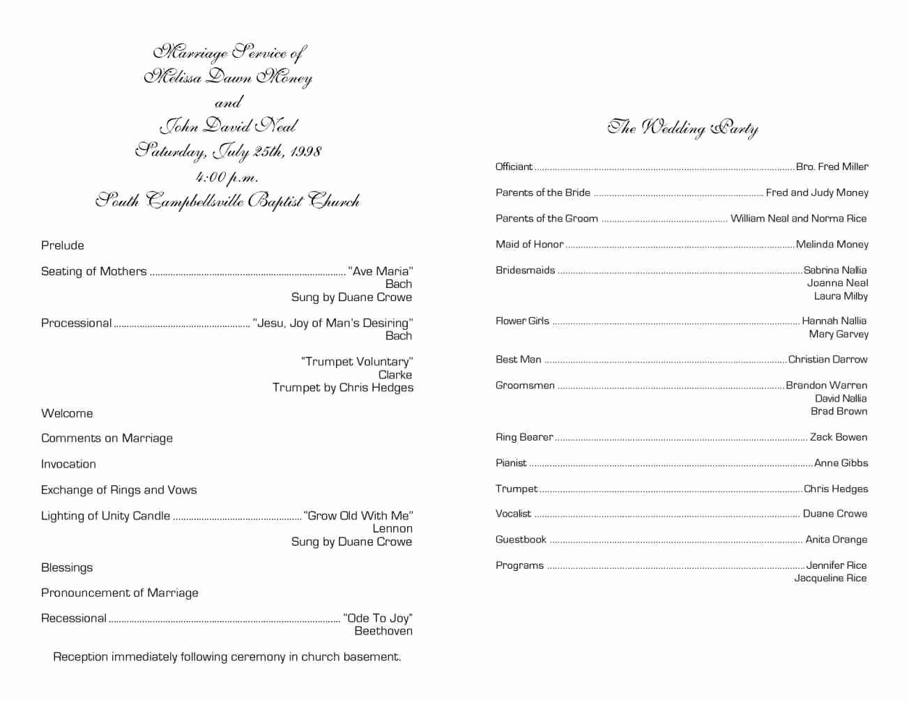Church Program Template Free Awesome Others Wondrous Sample Wedding Ceremony Ideas
