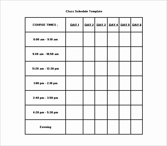 Class Schedule Template Word Fresh Class Schedule Template 36 Free Word Excel Documents