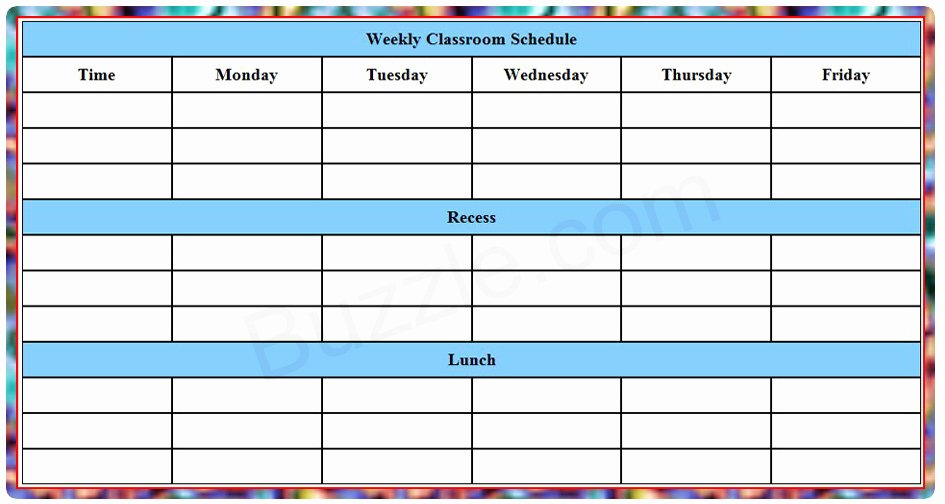 Class Schedule Template Word Lovely Printable Weekly Class Schedule Template