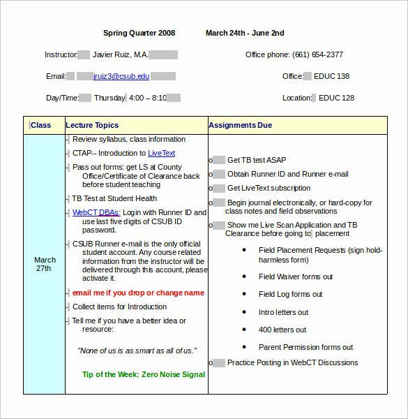 Class Schedule Template Word Lovely Sample Class Schedule 8 Documents In Pdf Word