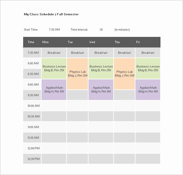 Class Schedule Template Word New College Class Schedule Template – 7 Free Word Excel Pdf