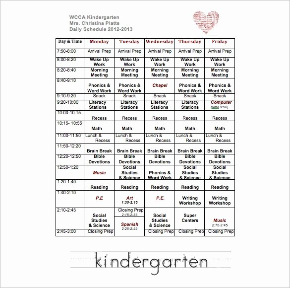 Class Schedule Template Word New Sunday School Schedule Template – Printable Schedule Template