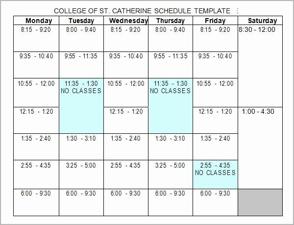 Class Schedule Template Word Unique College Class Schedule Template Word
